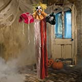 Scary Halloween Decorations Props Large Hanging Clown LED Red Eyes