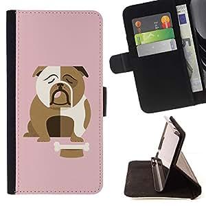British Bulldog Inglés rosado de la historieta- Modelo colorido cuero de la carpeta del tirón del caso cubierta piel Holster Funda protecció Para Apple (4.7 inches!!!) iPhone 6 / 6S