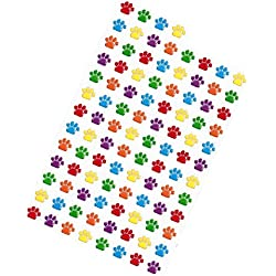 "Custom & Decorative {.25"" Inch} 300 Wholesale Pack of Mid-Size Stickers for Arts, Crafts & Scrapbooking w/ Cartoon Colorful Vintage Animal Paw Print Rainbow Dog Cat {Green, Yellow, Black & White}"