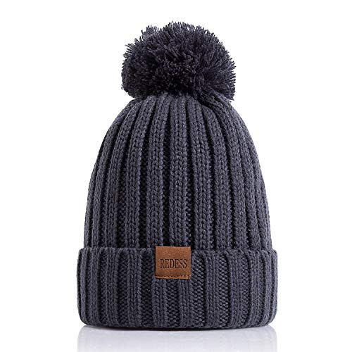 Fine Edge Trendy (REDESS Women Winter Pom Pom Beanie Hat with Warm Fleece Lined, Thick Slouchy Snow Knit Skull Ski Cap)