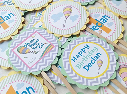 12 Cupcake Toppers - Oh The Places You'll Go Inspired Happy Birthday Collection - Pastel Purple Chevron, Green Stripes & Yellow, Blue and Pink Accents - Party Packs Available -