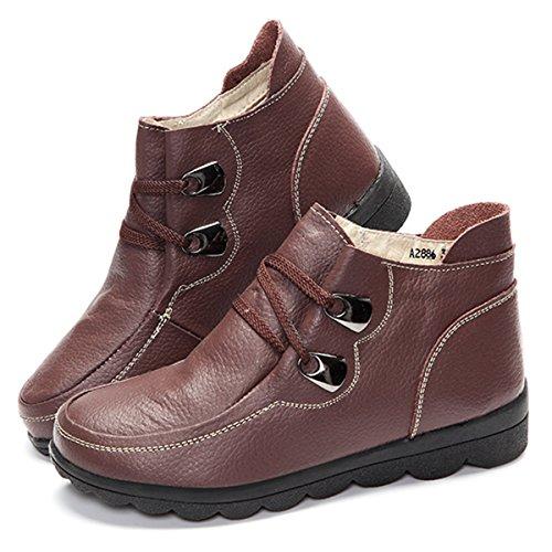 Casual D Cuir En Femme Chaussure Gracosy Boots Plat Bottines 1SgPWq