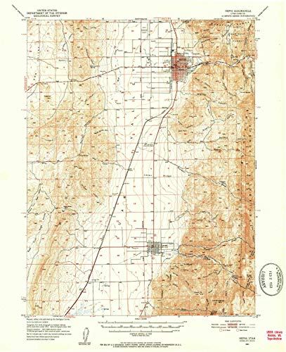 YellowMaps Nephi UT topo map, 1:62500 Scale, 15 X 15 Minute, Historical, 1951, Updated 1953, 20.8 x 17 in - Tyvek (Rock Red Maple Grove)