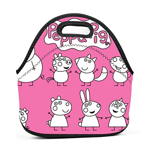 OUBAFun Neoprene Lunch Bag Pep-pa Pig Tote Handbag Lunchbox for School Work Office -