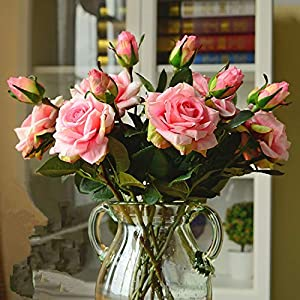 GSD2FF Wedding Decoration Artificial Flowers Vivid Real Touch Roses Artificial Silk Flower Bride Home Decor 2 Heads/Bouquet 19