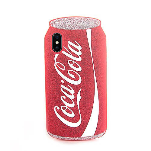 3D Coca Cola Soft Silicone Red Cocacola Can Case for iPhone X 10 Silver Glitter Shockproof Drop Resistant Protective Shiny Unique Bling Cool Special Fun Kids Boys Teens Girls Gift