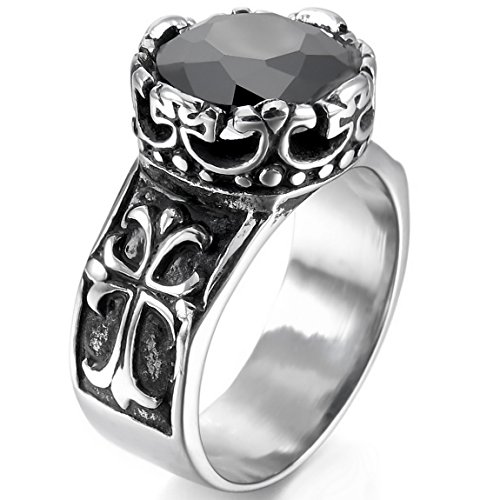 Silver Tone Black Agate (INBLUE Men's Stainless Steel Ring Simulated Agate Silver Tone Black Celtic Medieval Cross Size10)