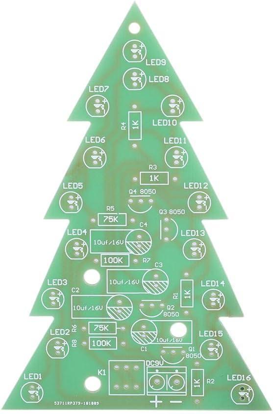 Conjunto de Piezas electr/ónicas de /árbol de Navidad 3D Kit de Placa de Circuito de LED DIY PCB /Árbol de Navidad LED Flash Tree