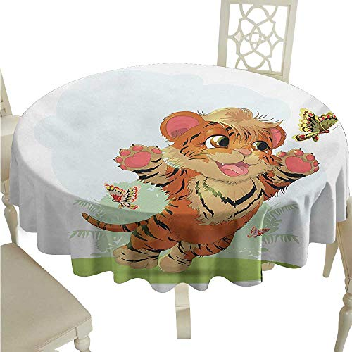(longbuyer Round Tablecloth Cartoon,Cub Playing with Butterflies in The Meadow Joyful Lively Baby Tiger Cat,Orange Cream Green D70,for Bistro Table)