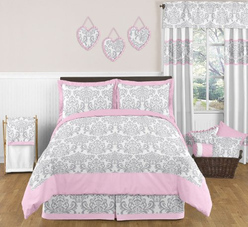 Pink and Gray Elizabeth Childrens and Kids 3 Piece Full / Queen Girls Bedding Set