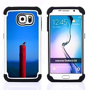 BullDog Case - FOR/Samsung Galaxy S6 G9200 / - / SPRING NATURE BIRD BLUE RED ROBIN /- H??brido Heavy Duty caja del tel??fono protector din??mico - silicona suave