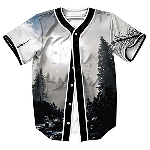 Unisex Mens Hipster Hip-Hop Pop Arc Bottom Button Down Wolf Lion Animal Space Starry Galaxy Graphic Baseball Softball Team Jersey Shirt Casual T Shirt Tops Tee (Forest Scene,M)