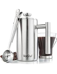 VonShef Satin Brushed Stainless Steel French Press Double Wall Keep Warm Cafetiere Coffee Filter Includes Measuring Spoon and Bag Sealing Clip, 3 Cup