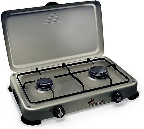 Placa de cocción de gas portátil con 2 fuegos 3200 W Silver 2 butano-propano gris aluminio con tapa
