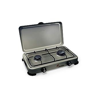 027ff6b7e323a Plaque de cuisson gaz portable 2 feux 3200 W SILVER 2 butane-propane Gris  aluminium couvercle: Amazon.fr: Gros électroménager