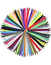 BetterJonny 100 Pieces Nylon Zippers, 11 Inch Colorful Nylon Coil Zippers Sewing Zippers Supplies for Tailor Sewing Crafts