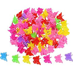 Hicarer 100 Pieces Butterfly Hair Clips Claw Barrettes, Assorted Color Mini Jaw Clip Hairpin Hair Accessories for Women and Girls