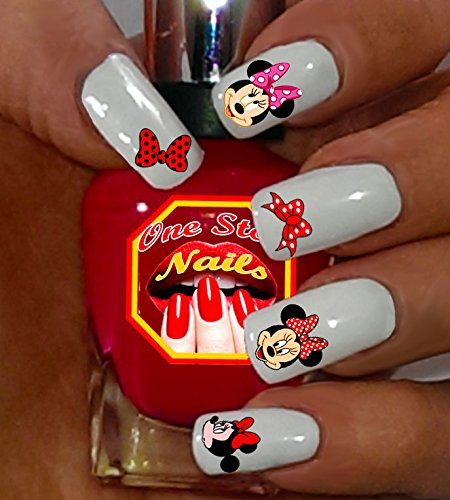Minnie Mouse Bow Nail Art Decals. Tattoo Nail Decal Set of 53 by One Stop -