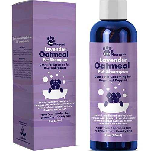 Natural Dog Shampoo with Colloidal Oatmeal - Puppy Shampoo for Dog Bath with Lavender Essential Oil Dog Wash - Pet Odor Eliminator Dog Shampoo for Smelly Dogs and Pet Grooming Itch Relief for Dogs