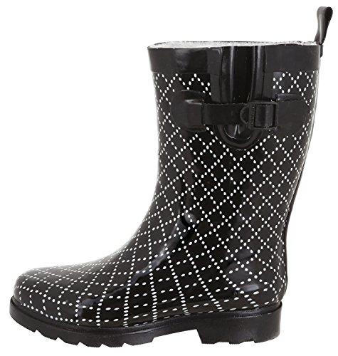 Collegiate Capelli Calf Printed Ladies Rain Combo Plaid Boots Mid Black New York t4qfS