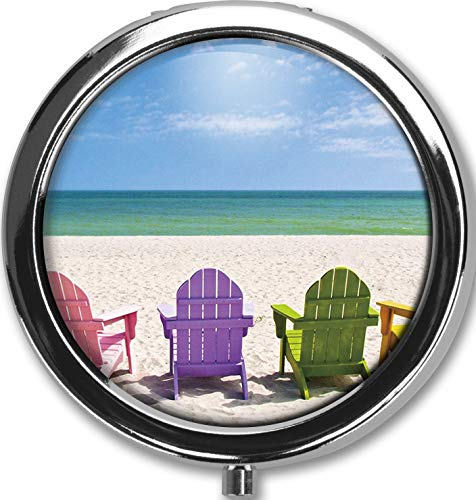 Beach Chair Design New Silver Round Pill Box Decorative Metal Medicine Vitamin Organizer Unique Gift
