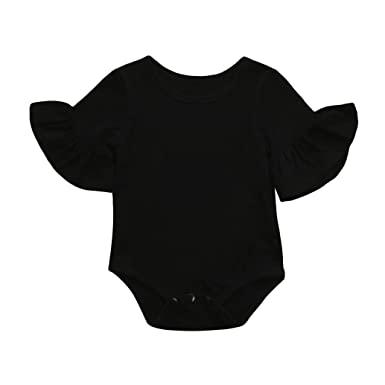 a70be439723 Hatoys Newborn Infant Baby Girls Ruffles Sleeve Playsuit Clothes Clothes  Outfits Romper (6M
