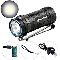 Olight® S1 Mini LED Flashlight 600 Lumens Ultra Compact with Cree XM-L2 CW LED and 1 x 650mAh RCR123A Rechargeable Battery Waterproof LED EDC Light