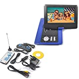Reelva 10 INCH Portable DVD Player for Kids and Car Swivel Screen Support SD card USB CD DVD with Earphone Port Game Controller Built-in Rechargeable Battery (10' Blue)