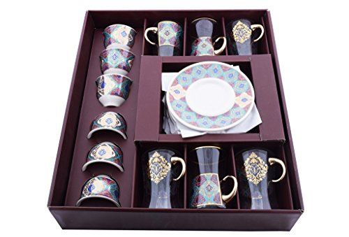 24 Piece Handmade Glass Unique Fancy High Class Arabic Mirra Coffee set and Tea Set- Special Design Colored Engraved Turkish Tea Set