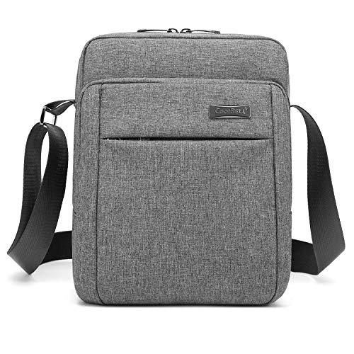 CoolBELL 10.6 Inches Shoulder Bag Oxford Cloth Messenger Bag iPad Carrying Case Functional Hand Bag Briefcase with Adjustable Strap for Tablet/iPad/Men/Women/College/Teens (New Grey)