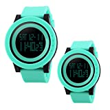 Unique Cool Outdoor Sport Digital Couple Watch All Green Soft Band Led Alarm(Two Pieces One Pack)