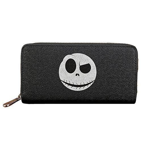 [Men's & Women's Nightmare Before Christmas Jack Skellington Mask PU Leather Long Purse Zipper Wallet Money Clip Card] (Jack Skellington Mask)