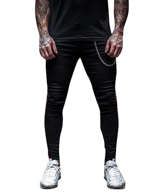 AnyuA Hombre Pantalones Vaqueros Jogging Jeans Pantalones ...