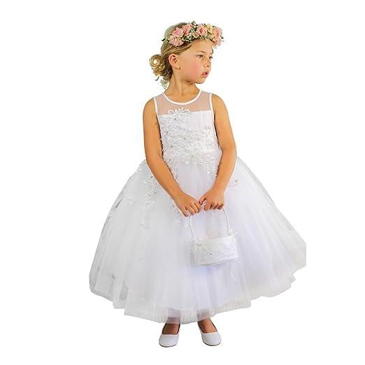 5db4da65be Tip Top Kids Little Girls Ivory Illusion Neckline Floral Lace Adorned Flower  Girl Dress 2