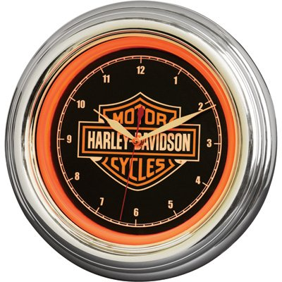 Harley-Davidson Bar & Shield Orange LED Wall Clock, used for sale  Delivered anywhere in USA