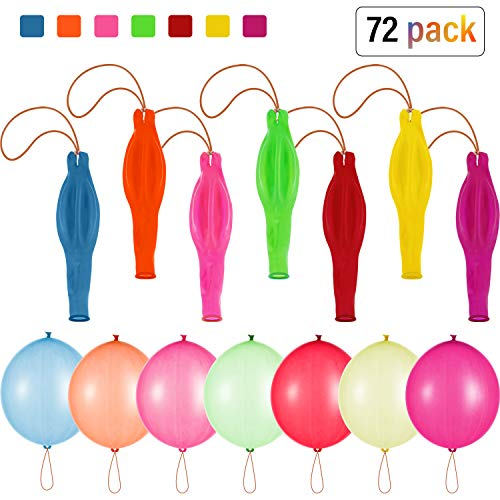 Halloween Punch Ball Balloons (72 Pieces Neon Punch Balloons 18 Inch Punch Ball Balloons Latex Punch Balloons with Rubber Band Handles Assorted Color Punch Balloons for Gift Birthday Party)