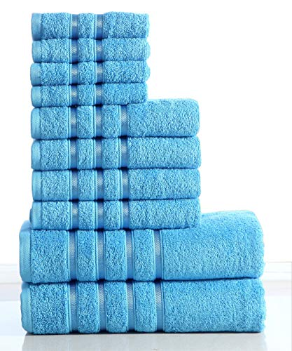 Wicker Park 550 GSM Ultra Soft Luxurious 10-Piece Towel Set (Sea Blue): 2 Bath Towels, 4 Hand Towels, 4 Washcloths, Long-Staple Combed Cotton, Spa Hotel Quality, Super Absorbent, Machine Washable