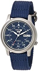 Seiko Stainless Steel Seiko 5 Military Automatic Blue Dial Men A Stunning and Very Popular Watch Introducing the Seiko 5 Military Collection. Brushed, polished stainless steel case (38mm diameter 11mm thick). Blue dial with luminous silver ta...