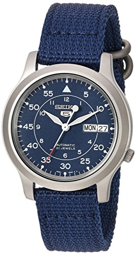 Seiko Men's SNK807 Seiko 5 Automatic Stainless Steel Watch with Blue Canvas Band - Automatic Watch Stainless Steel Band
