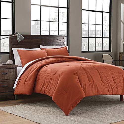 (Garment Washed Solid King Comforter Set Includes Comforter Pillow Shams (Burnt Orange))