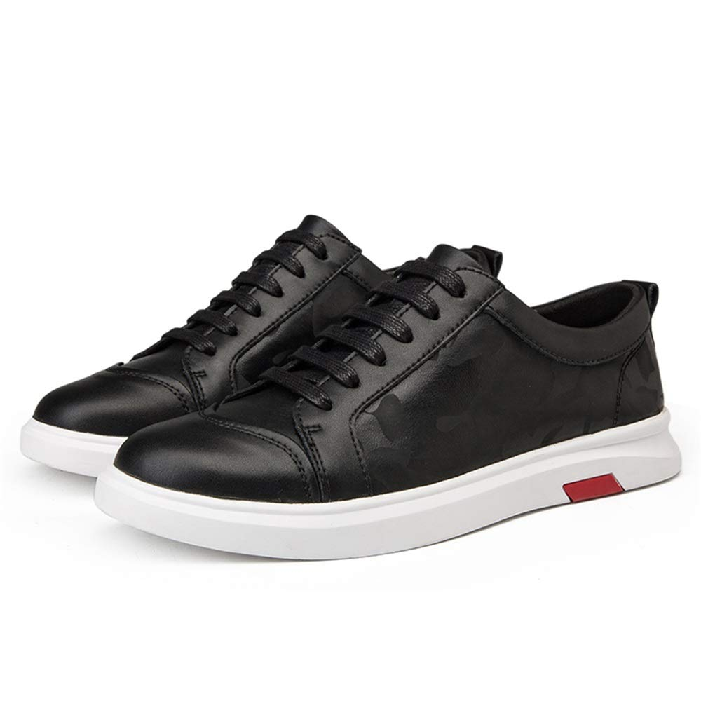 Durable Fashion Sneaker for Men Sports Shoes Lace Up Style OX Leather Fashion Camouflage Texture Outsole