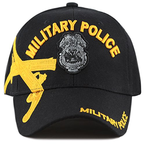THE HAT DEPOT Official Licensed Military Police Crossed Pistols Embroidered Cap (Black w/Badge) -
