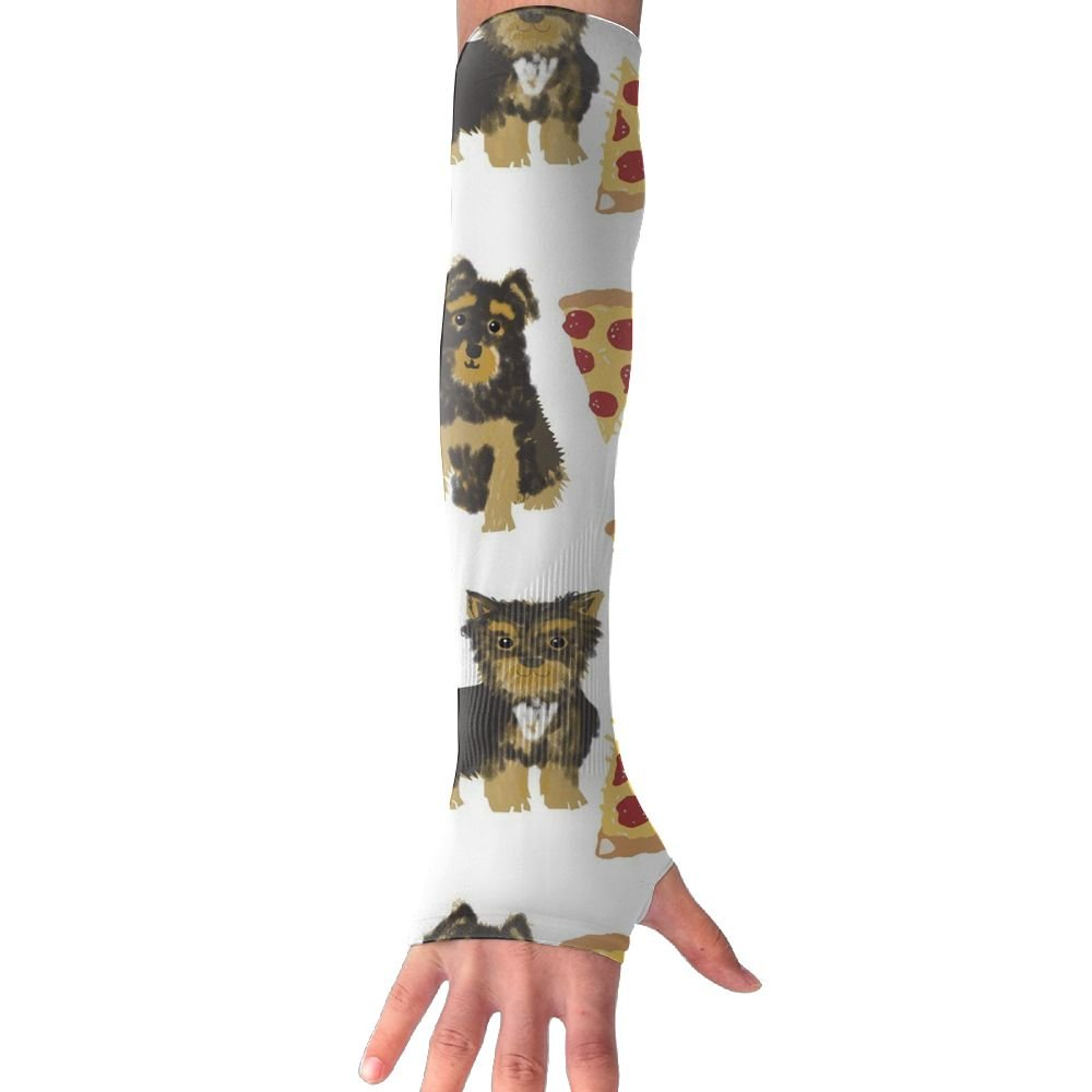 Huadduo Yorkie Pizza UV Sun Protection Sleeves,Cooling Arm Sleeves For Men & Women Long Arm Sleeve Glove Fit Running,Golf,Cycling, Biking,Driving,Fishing