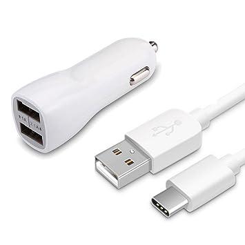 USB tipo C cargador de coche, doble puerto rápido USB ...