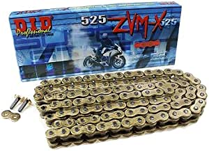 D.I.D 525ZVMXG-112 Gold 112-Link High Performance X-Ring Chain with Connecting Link