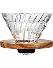 Hario V60 Glass Coffee Dripper (Size 02, Olive Wood)