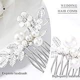 Yokawe Bridal Wedding Hair Comb Gold Pearl Flower