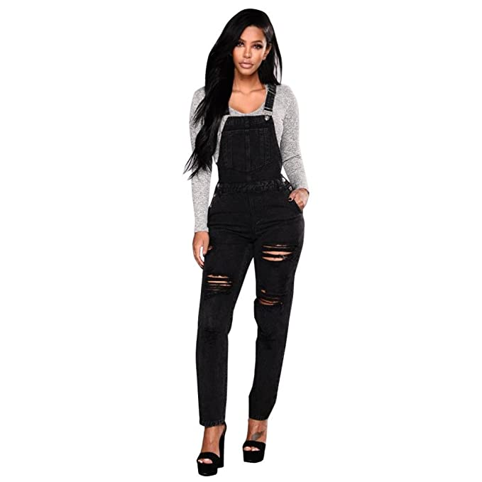 3ced63a0622c Amazon.com  RAISINGTOP Women Slim Denim Jeans Romper Long Pants Ripped  Casual Overalls Adult Straps Jumpsuit Trousers Tall Sizes  Clothing