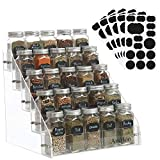 AmHoo Acrylic Spice Rack with 25 Clear Glass Jar Bottles and 80 Chalkboard Labels - 5 Tiers Kitchen Spice Rack Organizer