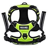 Dog Harness, MerryBIY Front Range Dog Harness No Pull Adjustable Chest Reflective Outdoor Adventure Pet Vest for Small Medium Large Breed Dogs Easy Control Walking Hiking Hunting Training,Green Size L